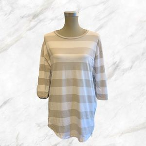 COS | White & Cream Stripped 3/4 Sleeve Tunic Top
